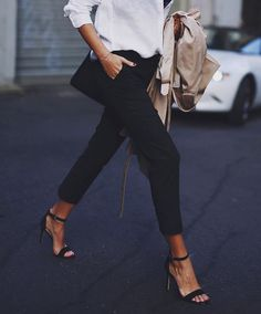 "fabulous-looks: "" Black Pants Sandals """