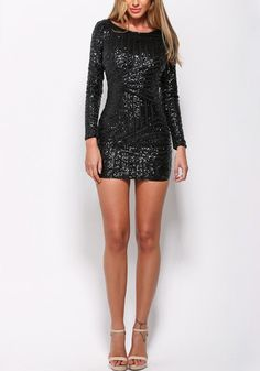 This beautiful black sequin cocktail dress features a wonderful scoop neckline, full lining, and a cutout back for a flirty yet sophisticated finish. Get this stunner here. | Lookbook Store Date Night Style