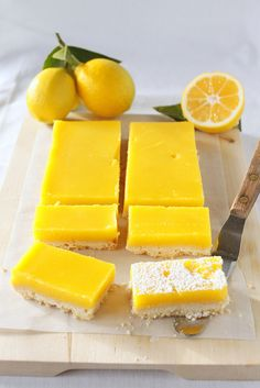 "Meyer Lemon Bars (Treats). ""Buttery, crisp shortbread topped with refreshing and subtly-sweet curd filling....absolutely delicious!"""