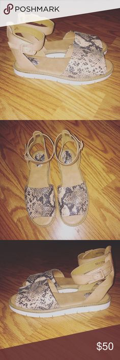 Clarks snakeskin & leather platforms New. Never worn. Shoes Sandals