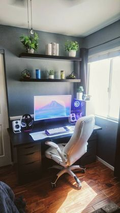 DIY Home Office Design Ideas. Thus, the demand for house offices.Whether you are intending on including a home office or refurbishing an old area right into one, below are some brilliant home office design ideas to help you get started. Desk In Living Room, Living Room Decor, Diy Room Decor, Wall Decor, Gaming Room Setup, Desk Setup, Pc Setup, Computer Room Decor, Computer Setup