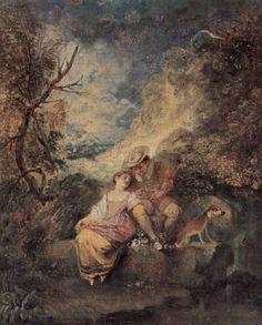 Jean-Antoine Watteau (French Rococo Era Painter, 1684-1721) – Der Jäger des Nestes