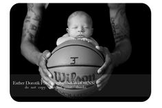 newborn pictures, newborn photography, black and white photography, newborn laying in dad's hands, basketball, new born baby