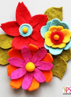 Three beautiful DIY felt flower variations. So perfect for wearable accessories, home decor and more!