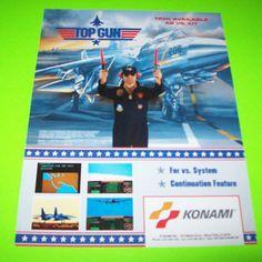 TOP GUN By KONAMI 1987 ORIGINAL NOS VIDEO ARCADE GAME PROMO SALES FLYER #konami #topgun #videogame #flyer