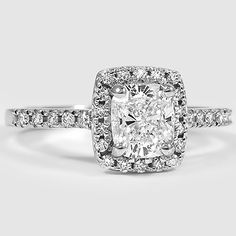 18K White Gold Sonora Halo Diamond Ring // Set with a 0.80 Carat, Cushion, Ideal Cut, F Color, VS1 Clarity Diamond #BrilliantEarth