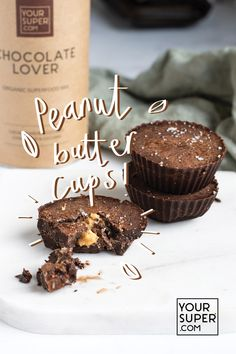 Peanut butter cups that are actually good for you? One bite of these vegan peanut butter cups and you'll be hooked. Vegan Dessert Recipes, Baking Recipes, Delicious Desserts, Yummy Food, Superfood Recipes, Health Recipes, Health Foods, Dinner Recipes, Vegan Treats