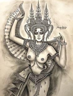 Indian Women Painting, Indian Paintings, Ganesha Art, Cartoon Painting, Thai Art, Cartoon Sketches, African American Art, Old Art, Fantasy Girl