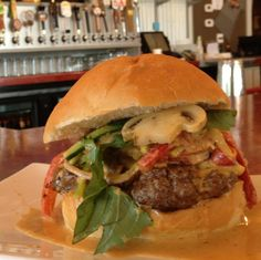 Red Curry Thai Burger  Julianne vegetable with Fresh Basil, Red Curry Coconut Sauce