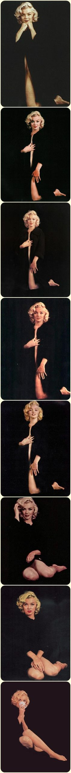 Marilyn. Black cardigan sitting. Photos by Milton Greene, 1953.