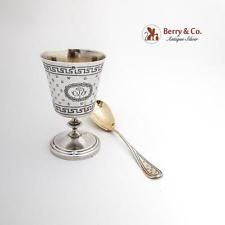 French Engraved Egg Cup Egg Spoon Boxed Set Gilt Interior Sterling Silver