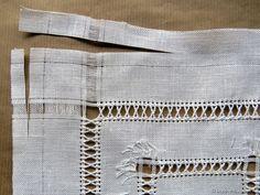 A Wide Hem with a Folded Peahole Edging - Luzine Happel Drawn Thread, Thread Work, Hem Stitch, Cross Stitch, Hardanger Embroidery, Needle Lace, Irish Lace, Ribbon Crafts, Craft Work