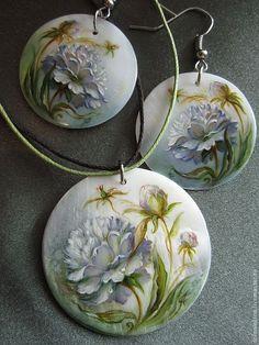 """Купить """"Пион"""" комплект - пионы, белые цветы, нежность, тонкая, садовые цветы, авторское украшение"""
