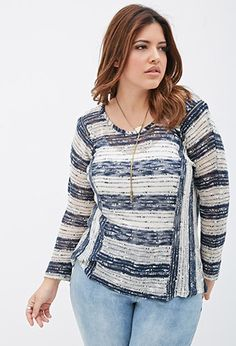 Striped Loose-Knit Sweater   Forever 21 PLUS - 2000117990