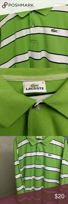 Lacoste longsleeve polo shirt Men's size 11, long sleeve, 2 buttons and collar. Green w/ black & white stripes. Gator on left chest  Gently used, no visible signs of wear. Any questions please feel free to ask, thanks for stopping by! Lacoste Shirts Polos