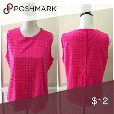 Cynthia Rowley Lasercut Top Cynthia Rowley laser cut sleeveless top. Lined, poly. Buttons up the back. Laser cut eyelet design. Hot pink. Excellent condition.  Size Medium Cynthia Rowley Tops