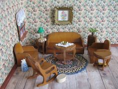 1930s Grand Rapids Dollhouse Living Room Furniture  by TheToyBox