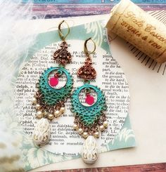 pearls and patina filigree chandelier assemblage earrings, recycled heart charms, repurposed, shabby jewelry, ooak, fab flea market by FabFleaMarket on Etsy