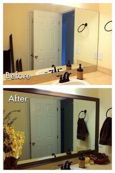 Miscellanea Etcetera: DIY Bathroom Mirror Frame for less than $20 Bathroom Mirrors Diy, Bathroom Renos, Framed Mirrors, Diy Mirror, Bathroom Ideas, Mirror Ideas, Bathroom Renovations, Small Bathroom, Mirror Inspiration