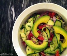 paleo zucchini ribbon salad with avocado