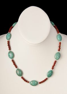 Red Jasper and Faux Turquoise Necklace by floweravenue on Etsy, $16.00 Turquoise Beads, Turquoise Necklace, Beaded Necklace, Necklaces, Red Jasper, Earrings, Art Projects, Silver, Jewelry