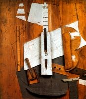"""""""Guitar and Bottle of Bass"""" Pablo Picasso, 1913"""