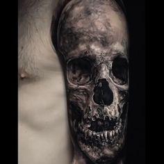 Black & Grey Realism Black & Grey Realism Arm Tattoo on back shoulder on back of neck on back harry potter blossom tattoos on back … Evil Skull Tattoo, Evil Tattoos, Creepy Tattoos, Skeleton Tattoos, Skull Tattoo Design, Skull Tattoos, Body Art Tattoos, Hand Tattoos, Sleeve Tattoos
