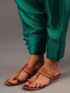 Buy Emerald Buttoned Harem Habutai Silk Pants Online at Jaypore.com