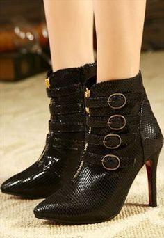 Black Punk Rock Design High Heel Boots