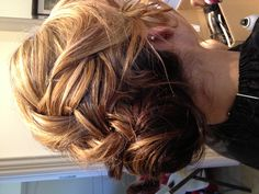 Loose french braid into low bun chignon formal hair prom wedding bridal hair  ~ Bombshell Beauty Parlor ~