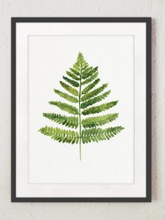 Fern Watercolor Print, Green Wall Decor, Bedroom Art, Botanical Painting, Spring Nature Woodland Illustration Kitchen Poster Gifts for Women