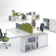Bureau Bench Ogi Q avec meuble de rangement - MDD Bureau Design, Office Furniture, Office Desk, Office Spaces, Desk Storage, Storage Units, Autocad, Stores, Decoration