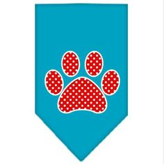 Mirage Pet Products Red Swiss Dot Paw Screen Print Bandana for Pets, Large, Turquoise ^^ See this awesome image  : Dog Bandanas