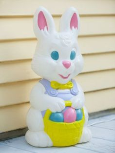 Vintage empire blow mold light up plastic easter bunny - Light up easter decorations ...