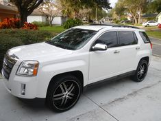 terrain rims | Modified GMC Terrain SUV with 22 inch Venice Rosso wheels, OEM chrome ...