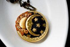 sun, moon, stars locket