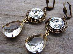 antique style tear drop earrings