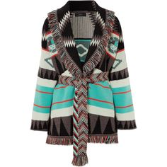 Alanui Fringed jacquard-knit cashmere cardigan (4,220 CAD) ❤ liked on Polyvore featuring tops, cardigans, blue, cardigan top, knit cardigan, fringe top, geometric top and geometric print cardigan
