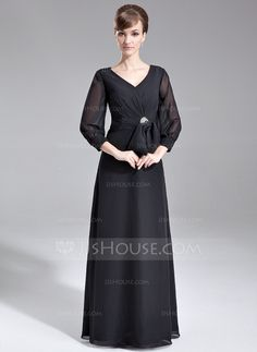 A-Line/Princess V-neck Floor-Length Chiffon Mother of the Bride Dress With Ruffle Crystal Brooch Bow(s) (008006529)