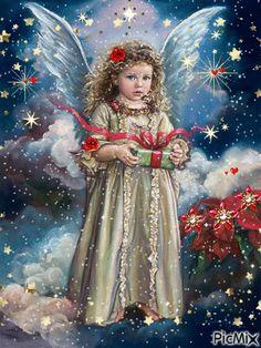 Merry Christmas Gif, Merry Christmas Pictures, Christmas Scenery, Christmas Nativity, Vintage Christmas Cards, Christmas Angels, Christmas Art, Christmas Greetings, Beautiful Christmas