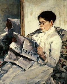 Mary Cassatt (1844-1926), peintre d'origine américaine vivant à Paris, amie de Degas   Portrait de la mère de l'artiste lisant le Figaro
