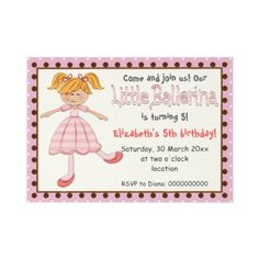 Little #ballerina pink polka dot border kids #birthday #invitation, featuring an adorable little dancer blond ballerina in her pink tutu and dance slippers on ivory with a pink, chocolate brown and white polka dot pattern border.