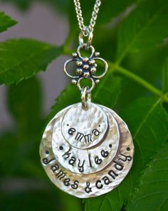3-Disc Hand Stamped Stacked Necklace (all silver) - Personalized Mom Jewelry, Family Jewelry / MY BEST SELLER, Christmas Gift, Holiday Gift. $56.00, via Etsy.