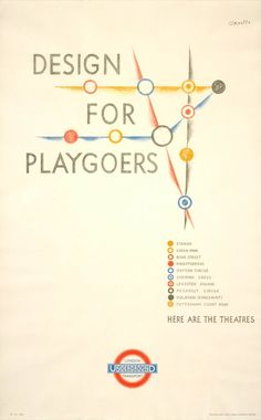 O'Keeffe. London Underground - Design for Playgoers. [Pinned 4-x-2016]