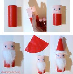 DIY Père Noël Papier toilette Santa Claus DIY roll toilet paper  DIY Tuto Père Noël en rouleau de papier toilette http://allomamandodo.com/diy-pere-noel-super-activite-les-enfants-rouleau-papier-toilette/                                                                                                                                                                                 Plus