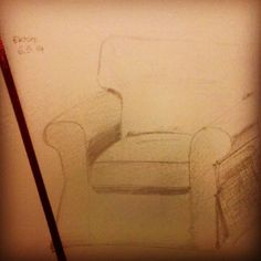 Made only a little #Ektorp today. #drawing #pencil #sketchbook #IKEA