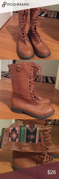 • COMBAT BOOTS • with tribal detail Zip up, lace up Combat Boots with tribal print detail. Worn once. In perfect condition except for a small scratch shown in photo. Can barely notice in person! They are gorgeous boots! Comfy & versatile! Can be worn laced up or folded down to show print! Size 8! Combat Boots Shoes Lace Up Boots