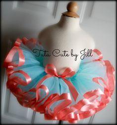 Sewn Aqua Tutu With Coral Satin Ribbon Trim. Tutu Cute By Jill on Etsy