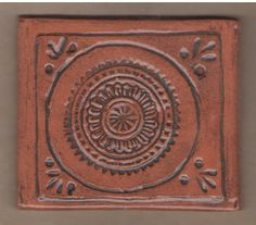Stamped and carved terracotta tile by Bella Odendaal Terracotta Tile, Tiles, Carving, Stamp, Products, Room Tiles, Tile, Wood Carvings, Stamps