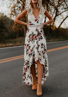 Robe longue imprimé à fleurs dos nu irrégulière haut-bas v-cou sans manches bohème blanc